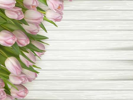 macro flowers: Pink flowers tulips on the light wooden.vector file included Illustration