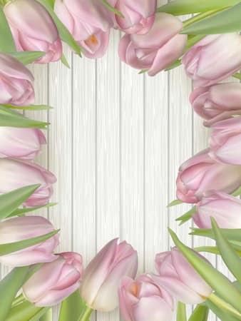 mother s: Bouquet of tulips on a wooden table background. Top view. For Mother s Day, Women s Day and wedding with copy space for text. EPS 10 vector file included Illustration