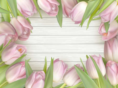 mother s: Color tulips on wooden background with space for message. Top view. For Mother s Day, Woman s day or Wedding day. vector file included