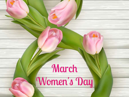 recollection: On the 8th of March is women s day . vector file included