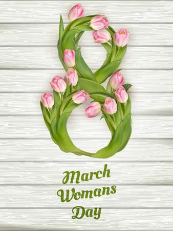8. März. Internationaler Frauentag. Beschriftung. Vektor-Datei enthalten Vektorgrafik