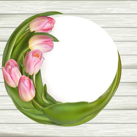 bunch flowers: Tulips over wooden table background.  vector file included