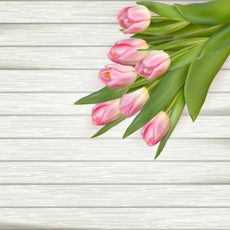 wedding table decor: Pink tulips over white wood.  vector file included