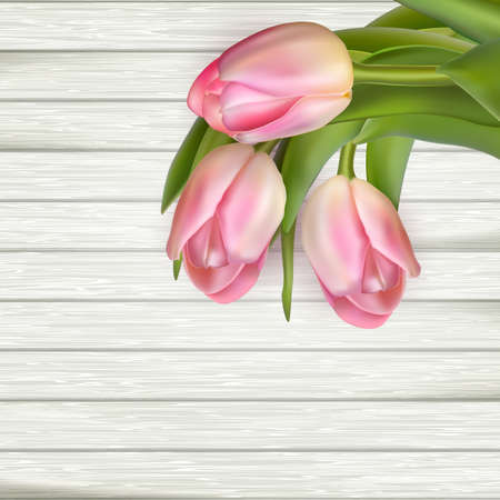 easter time: Easter time. Spring. Pink tulips on wooden background.  vector file included