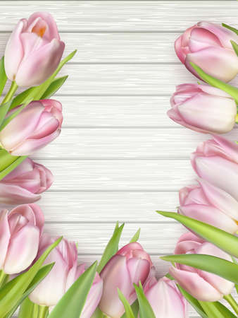 10 month: Bouquet of tulips on a wooden table background. Top view. For Mother s Day, Women s Day and wedding with copy space for text.  vector file included
