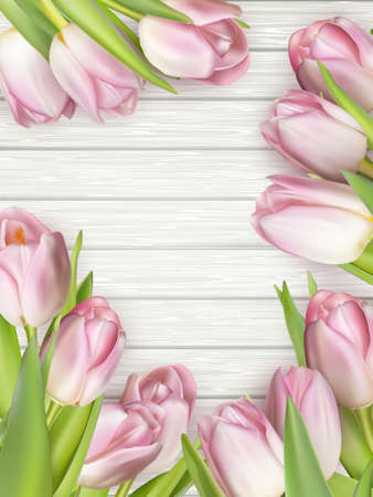 mother s: Frame of pink tulips on rustic wooden background. Spring flowers. Spring background. Valentine s Day and Mother s Day background. Top view.  vector file included