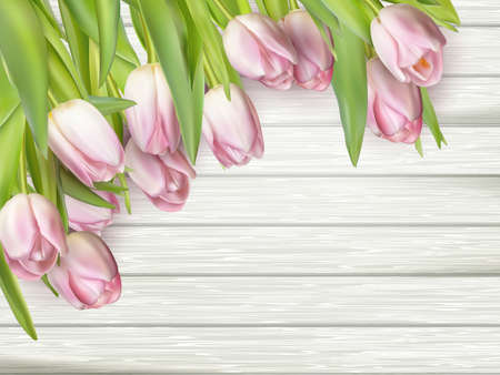 mother s: Color tulips on wooden background with space for message. Top view. For Mother s Day, Woman s day or Wedding day. EPS 10 vector file included Illustration