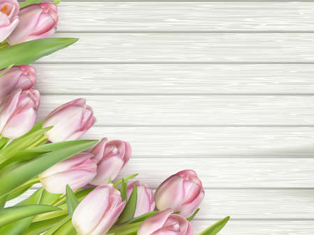 Bouquet of tulips on a wooden table background. Top view. For Mother s Day, Women s Day and wedding with copy space for text.  vector file included