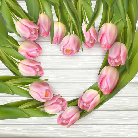 Tulip Herzrahmen Bouquet über weißem Hintergrund. Vektor-Datei enthalten