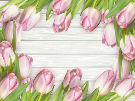 s day: Frame of pink tulips on rustic wooden background. Spring flowers. Spring background. Valentine s Day and Mother s Day background. Top view. EPS 10 vector file included