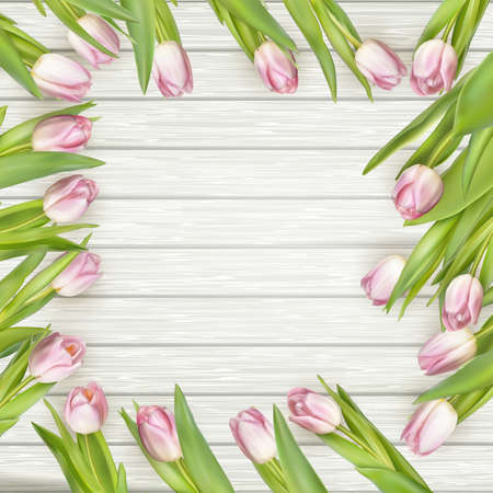 valentine s day: Frame of pink tulips on rustic wooden background. Spring flowers. Spring background. Valentine s Day and Mother s Day background. Top view. vector file included