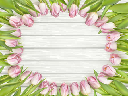 WOOD BACKGROUND: Color tulips on wooden background with space for message. Top view. For Mother s Day, Woman s day or Wedding day. vector file included