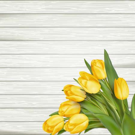 madera rústica: tulipanes amarillos hermosos en el fondo de madera. Vista superior, espacio de la copia. archivo vectorial incluido