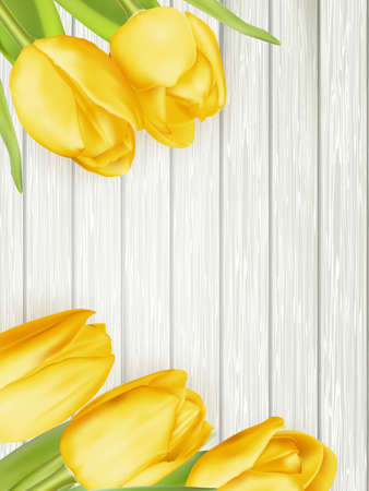 toned: Bunch of fresh yellow tulips close up on wooden background, retro toned.  vector file included