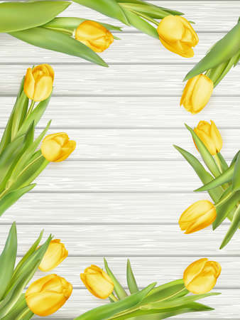 Yellow tulips over wooden table background with copy space.  vector file included