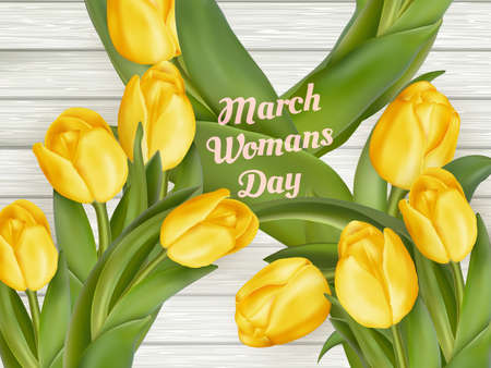 mar: March 8 and yellow tulips.  vector file included