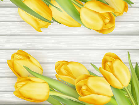Yellow tulips over wooden table background. Top view, copy space. EPS 10 vector file included