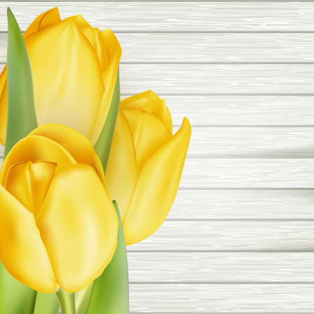 grateful: Bouquet of yellow tulips in a gift on a dark wooden table. EPS 10 vector file included Illustration