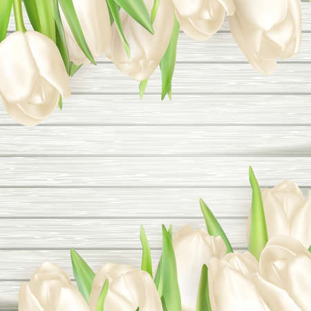 wedding table decor: Fresh white tulips on wood planks. Place for text. EPS 10 vector file included Illustration