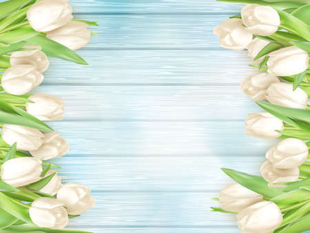 wedding table decor: Tulip flower on turquoise painted wooden table background. Top view with copy space.  vector file included Illustration
