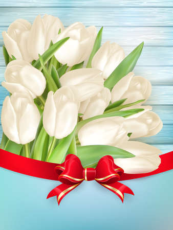 wedding table decor: Tulip flower on turquoise painted wooden table background. Top view with copy space. 0 vector file included