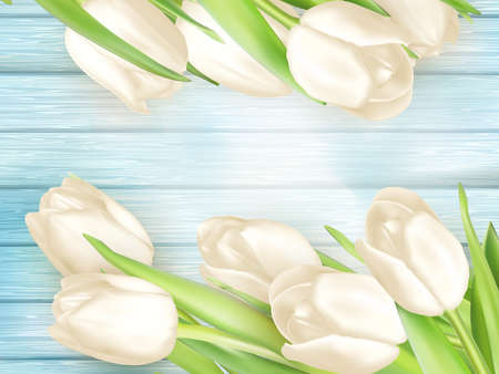 close: Beautiful bouquet of white tulips on turquoise painted wooden background. vector file included