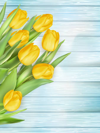 life event: Fresh spring yellow tulips flowers on turquoise wooden planks. Selective focus. Place for text.  vector file included