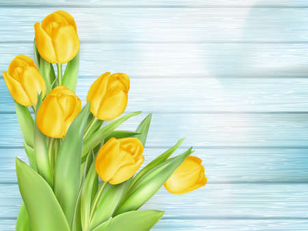 flowers bouquet: Fresh spring yellow tulips flowers on turquoise wooden planks. Selective focus. Place for text.  vector file included
