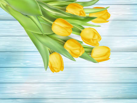 fresh flowers: Fresh spring yellow tulips flowers on turquoise wooden planks. Selective focus. Place for text. EPS 10 vector file included