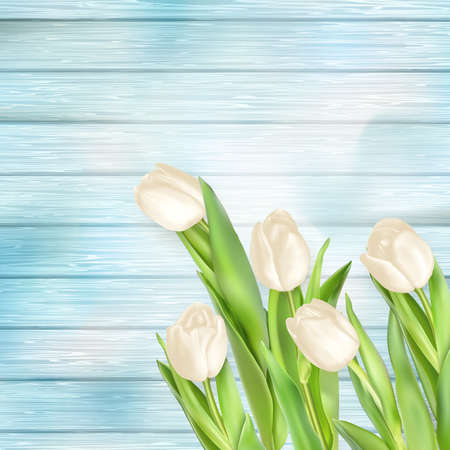 green flowers: Tulips on turquoise painted wooden table. vector file included