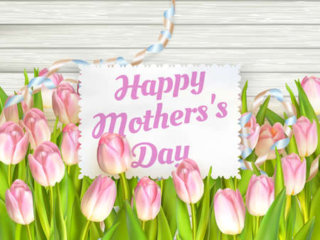 mother s: Close up of a beautiful bouquet of tulips with a happy mothers day card. Mother s Day concept. Illustration