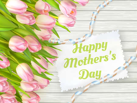 mother s day: Close up of a beautiful bouquet of tulips with a happy mothers day card. Mother s Day concept. Illustration
