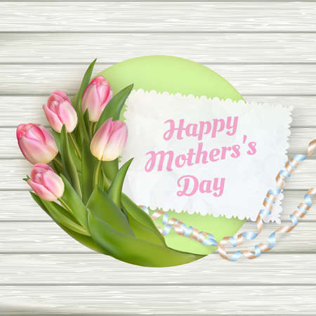 Close up of a beautiful bouquet of tulips with a happy mothers day card. Mother s Day concept. EPS 10 vector file included