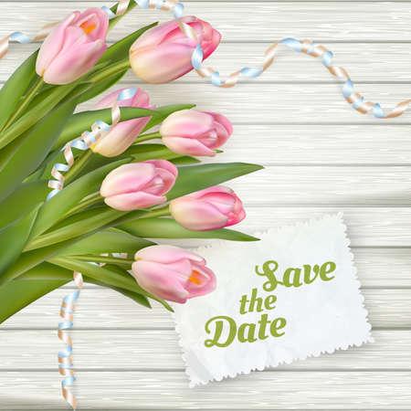 印有春天郁金香的婚礼请帖。用于登机牌,保存日期,感谢卡。包括EPS 10矢量文件