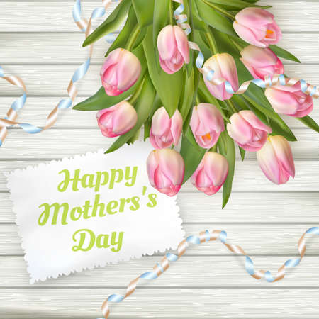 s day: Close up of a beautiful bouquet of tulips with a happy mothers day card. Mother s Day concept. EPS 10 vector file included