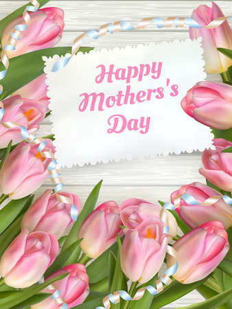 mother's day: Close up of a beautiful bouquet of tulips with a happy mothers day card. Mother s Day concept. EPS 10 vector file included