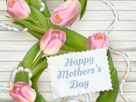 mother s: Close up of a beautiful bouquet of tulips with a happy mothers day card. Mother s Day concept. EPS 10 vector file included