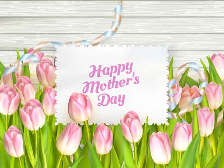 mother s day: Close up of a beautiful bouquet of tulips with a happy mothers day card. Mother s Day concept. EPS 10 vector file included