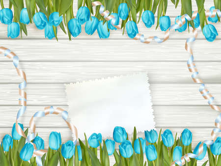 toned: Vintage toned tulips and note paper on a wooden background. EPS 10 vector file included