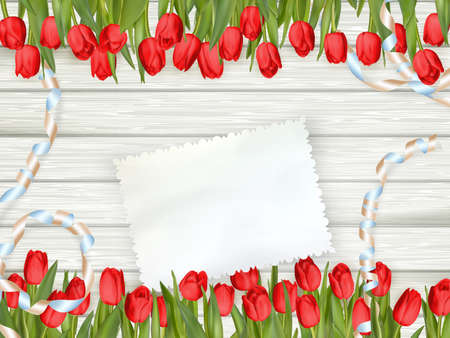 weathered wood: Bouquet of tulips with an empty card on wooden background. EPS 10 vector file included Illustration