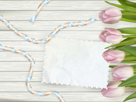 good nature: Bouquet of tulips on rustic wooden board, easter decoration. EPS 10 vector file included