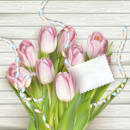 ramo de flores: Bellos tulipanes con la tarjeta en el fondo de madera. archivo vectorial EPS 10 incluido