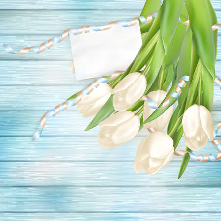 blue tulip: Tulip bouquet and blank greeting card. Top view over white blue wooden table.   vector file included