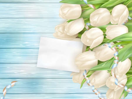 8 march: Bouquet of beautiful tulips with a card. March 8, valentines day, mothers day. vector file included Illustration