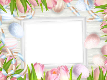 wedding table decor: Easter background. Colorful eggs over white wooden background with frame.   vector file included