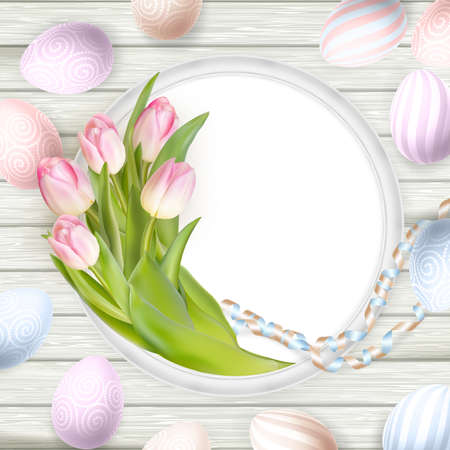 over white: Easter background. Colorful eggs over white wooden background with frame.   vector file included