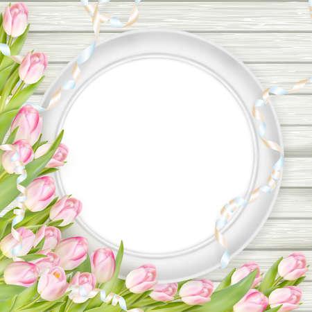 marco cumpleaños: Tulipanes con el marco en blanco sobre fondo de madera blanca. Imagen romántica. archivo vectorial incluido