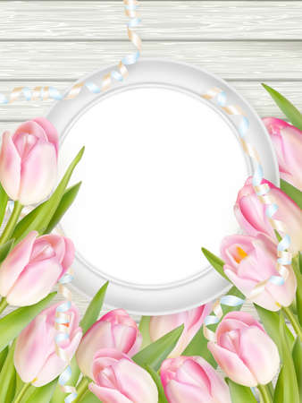 background picture: Tulips with blank picture frame on white wooden background. Romantic picture.  vector file included Illustration