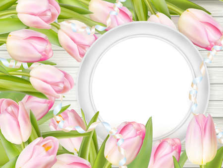 romantic picture: Tulips with blank picture frame on white wooden background. Romantic picture.   vector file included
