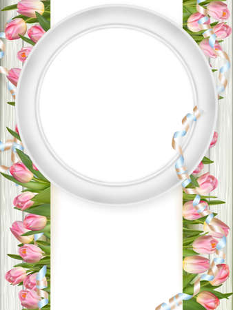 romantic picture: Tulips with blank picture frame on white wooden background. Romantic picture. vector file included Illustration